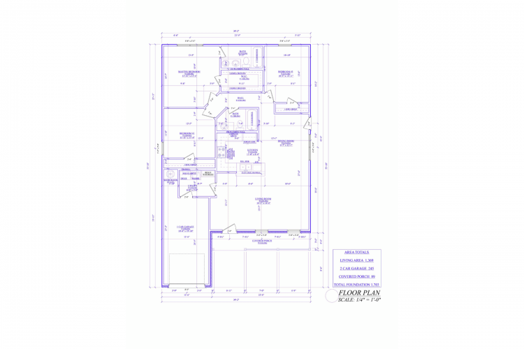 Floor Plan 1D Custom 3-Bed 2-Bath