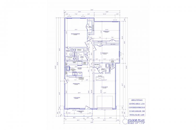 Floor Plan 1C Custom 3-Bed 2-Bath